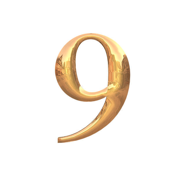金色の数字の9