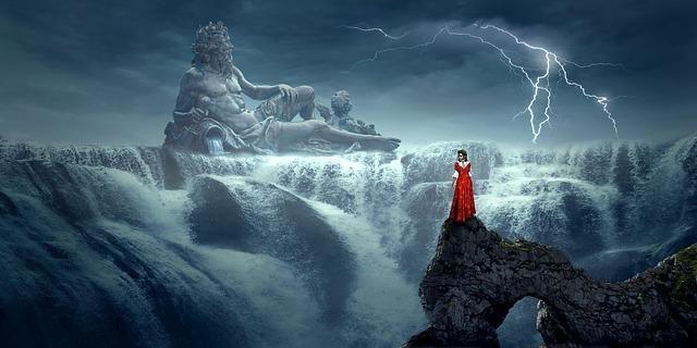 崖の上に立つ女性と天空の者