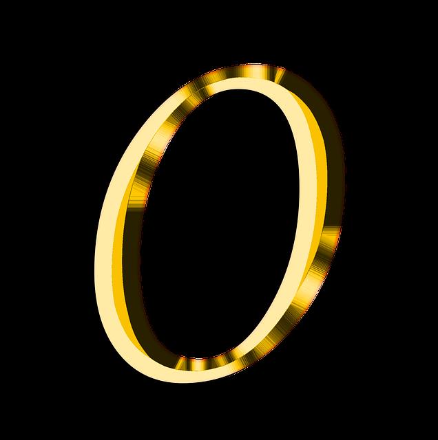 金色で書かれた数字のゼロ