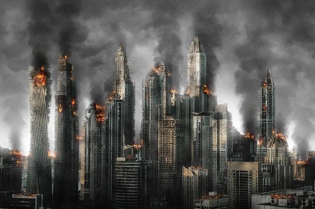 燃えさかる都市