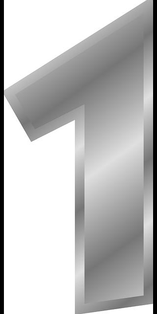 シルバーの数字の1