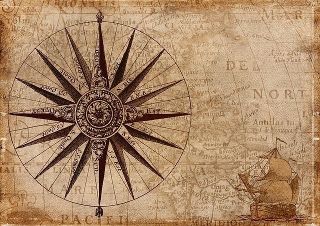 コンパスが描かれている地図
