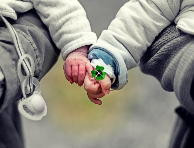 三つ葉のクロバーを持つ小さな手に触れるもうひとつの小さな手