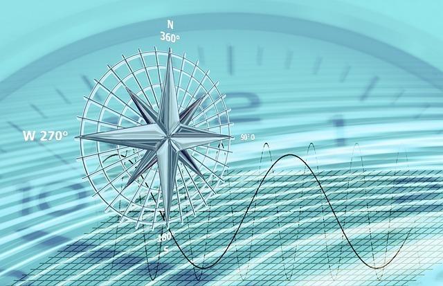 時計を背景に銀の羅針盤と波線が描かれている