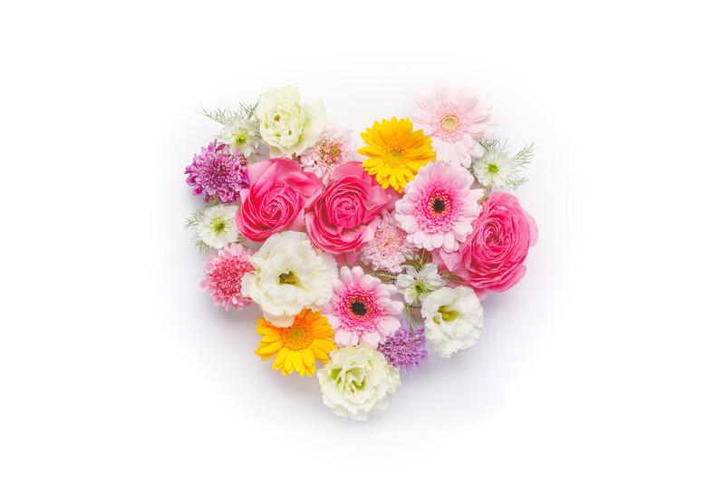 ハート形の花束
