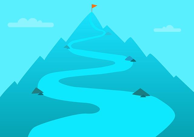 蛇行する山道の先にゴールが描かれているイラスト