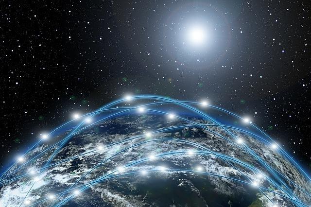 多数の光に包まれている宇宙
