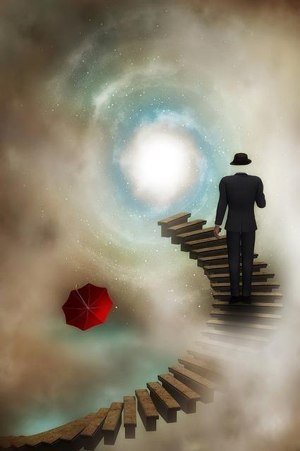 光に向かっている階段の途中にいる男性のイラスト