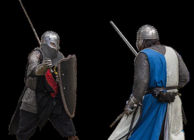 中世の騎士が決闘中の様子