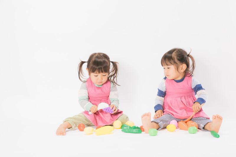 2人の女の子が野菜のおもちゃで遊んでいる
