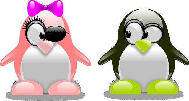 ウィンクしてアピールしているリボンのペンギン