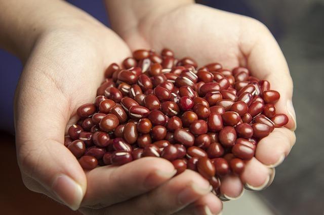 手に小豆を持つ