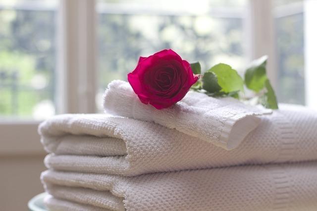 フェイスタオルの上に1輪のバラが置いてある画像