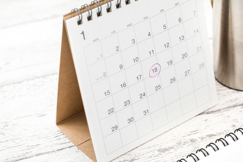 18日に〇がついている1月のカレンダー