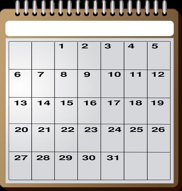 月指定のない31日まで表記のカレンダー