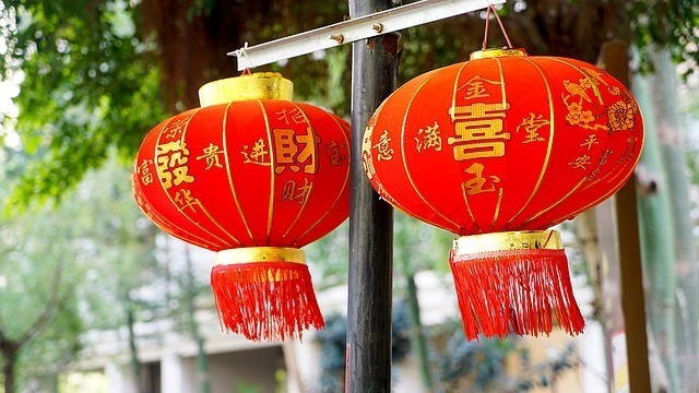 中国の旧正月に飾られる提灯