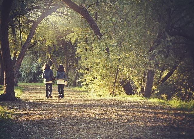 並んで森の中を歩いている友だち同士