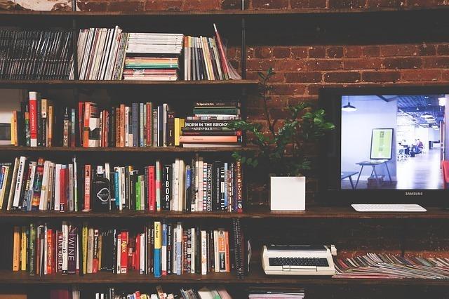 本棚やテレビが置いてある部屋