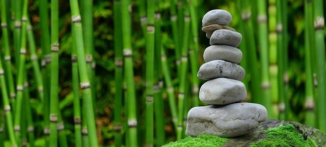 竹林の中、苔むした石の上に丸い石が7段積まれている写真