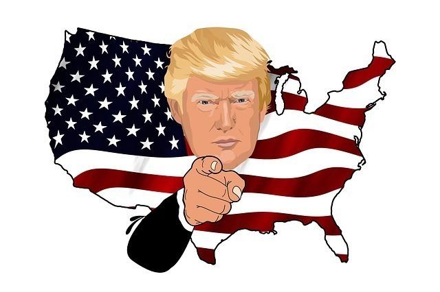 トランプ大統領とアメリカ国土と星条旗のイメージイラスト