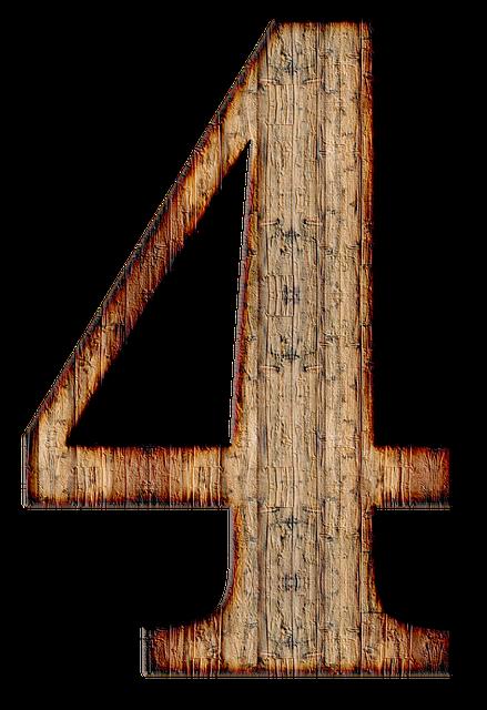 木で作られた「4」