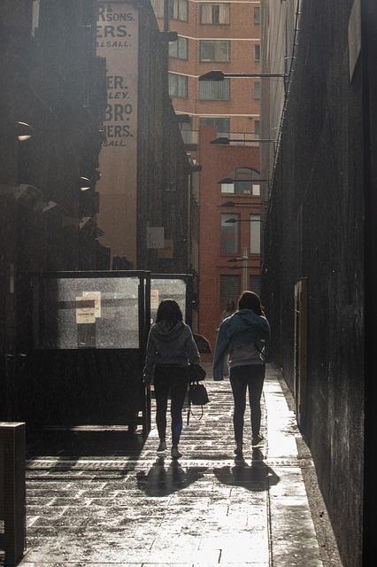 路上を歩く女性たち