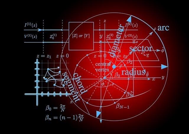 黒い背景に水色の文字で書かれた数式