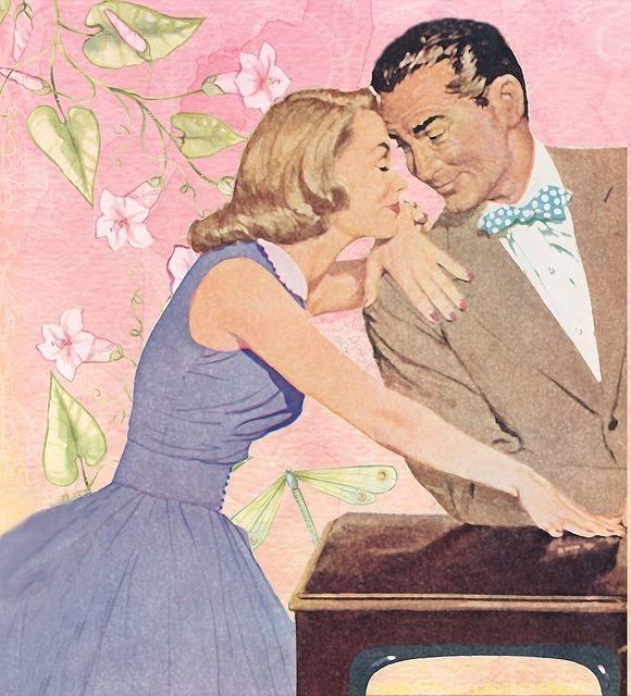 男性の方に手を置く女性と顔を寄せ合う男性の絵