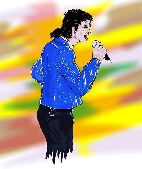 青いシャツを着たマイケルジャクソンのイラスト