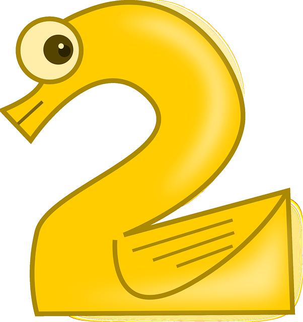 黄色い水鳥をモチーフにした2のイラスト
