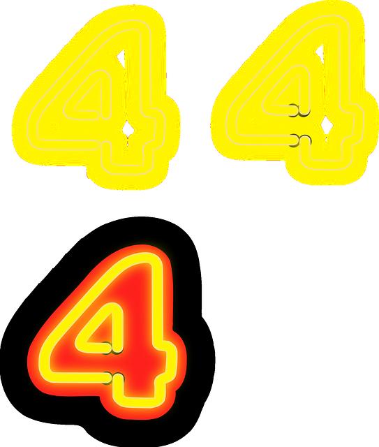 蛍光灯で4を象ったデザインのイラスト