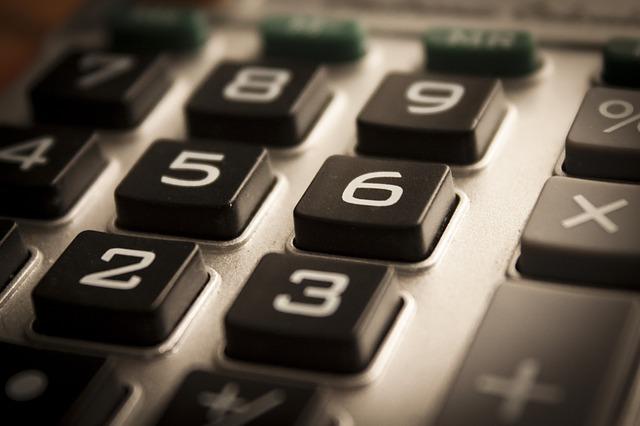 旧式の電卓の数字ボタン