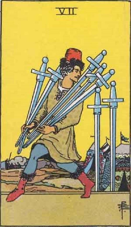 タロットカード小アルカナ「ソード7」の絵柄