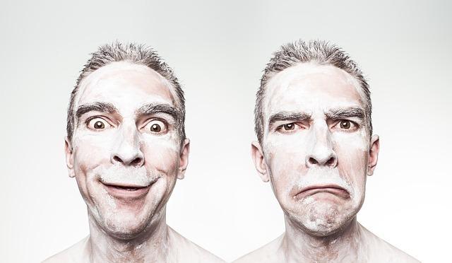 笑顔と怒り顔の肖像
