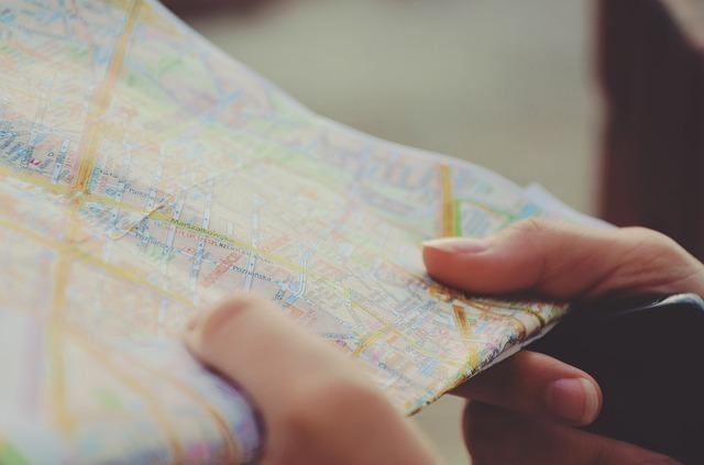 地図をチェックしている様子