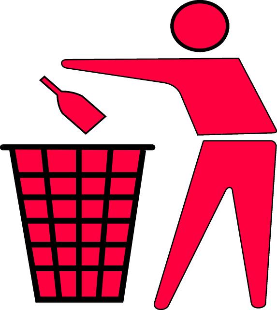 ゴミを捨てるピンクの人