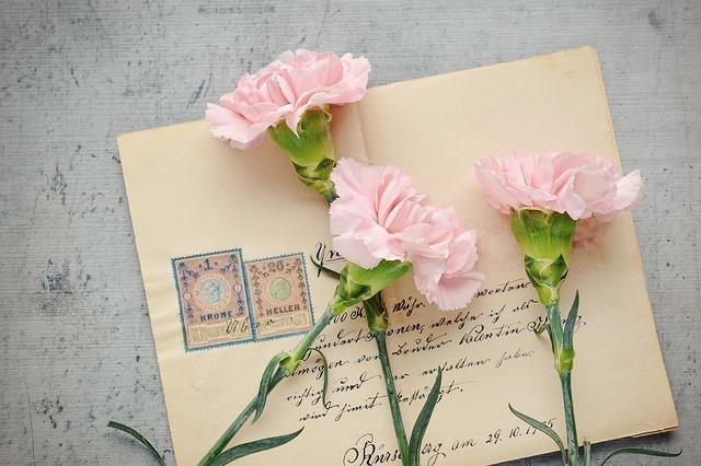 手紙とピンクのカーネーション