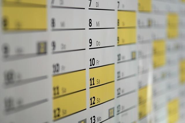 2月と3月にピントがあった1年のカレンダー。