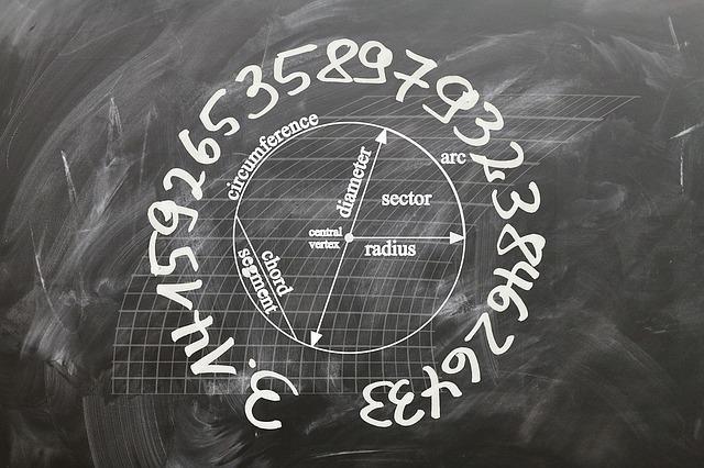 黒板に規則正しく書かれた円周率の計算。