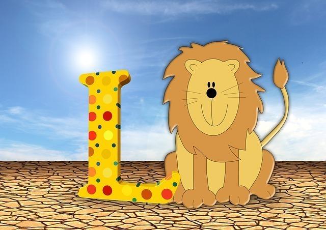 英文字のLとライオン。