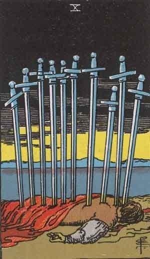 ソードの10 正位置のカード