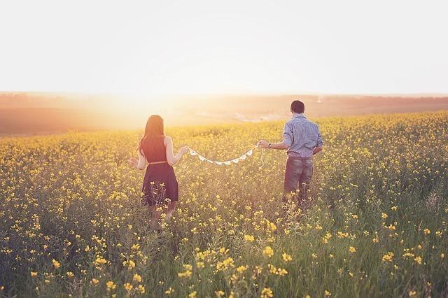 菜の花畑でリボンでつながれた二人が朝日に向かって歩き出す画像