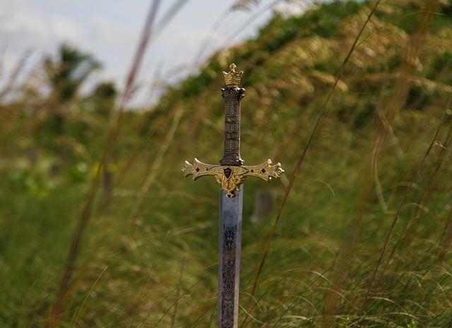 背の高い草むらの大地に突き刺さった剣