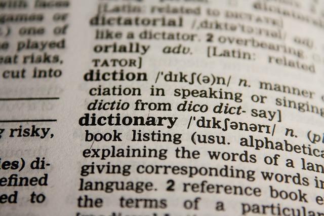 開いている英語の辞書