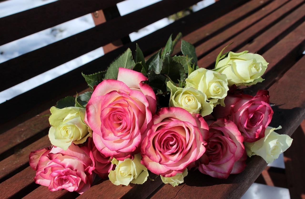 黄色いバラとピンクのバラ