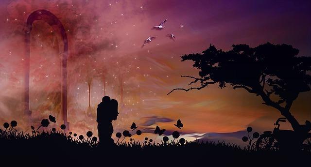 ロマンチックな空間の中のカップル