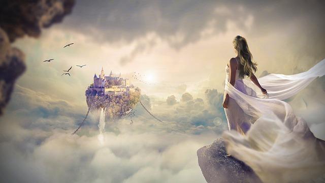天空城を遠くに見る神秘的な女性のイラスト