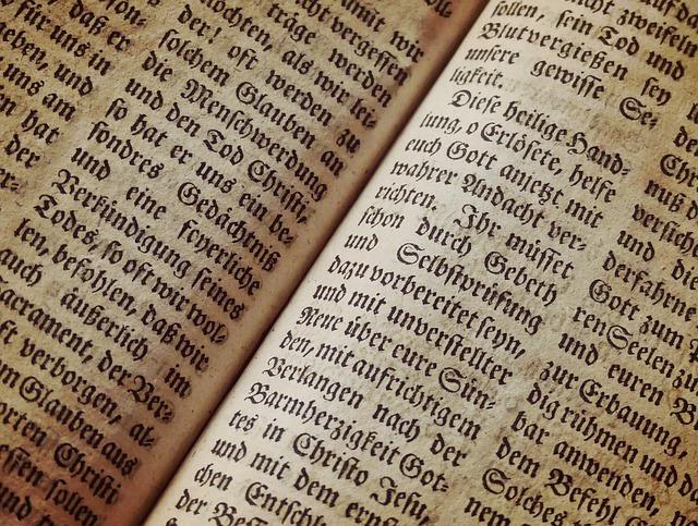 外国語で書かれた本のアップ