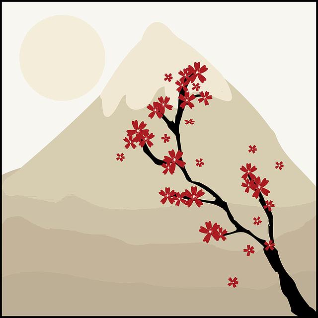 富士山と梅のイラスト