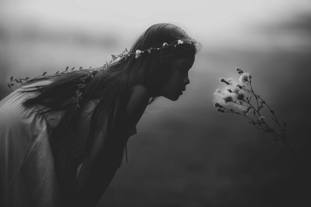草花と少女